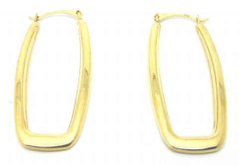 9ct Yellow Gold Rectangular Hoop Earrings                                   7389